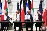 """بالفيديو …. لحظة توقيع """"اتفاق السلام"""" بين الإمارات والبحرين وإسرائيل"""